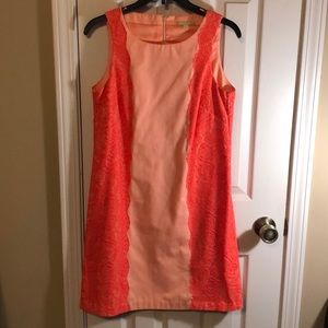 Coral and lace sleeveless dress